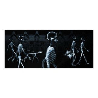 X-Ray Skeletons Midnight Stroll Black Blue Personalized Invitations