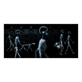X-Ray Skeletons Midnight Stroll Black Blue Print