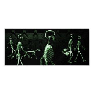 X-Ray Skeletons Midnight Stroll Black Green Invites