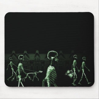X-Ray Skeletons Midnight Stroll Black Green Mouse Pad