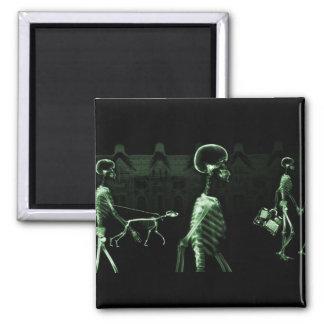 X-Ray Skeletons Midnight Stroll Black Green Square Magnet