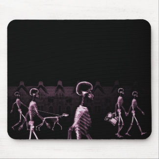 X-Ray Skeletons Midnight Stroll Black Pink Mousepads