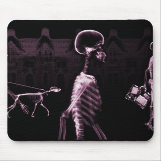 X-Ray Skeletons Midnight Stroll Black Pink Mouse Pad
