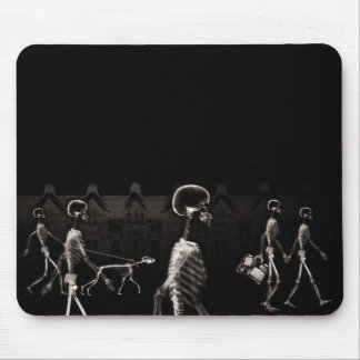 X-Ray Skeletons Midnight Stroll Black Sepia Mouse Mat