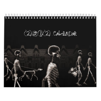 X-Ray Skeletons Midnight Stroll Black Sepia Wall Calendars