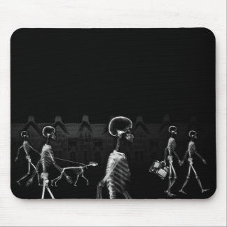 X-Ray Skeletons Midnight Stroll Black White Mouse Mat