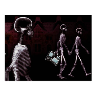 X-Ray Skeletons Midnight Stroll Postcard