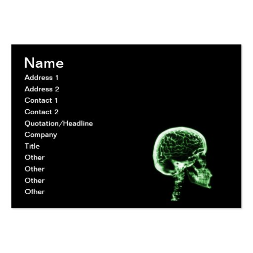 X-RAY SKULL BRAIN - BLACK & GREEN BUSINESS CARD TEMPLATES