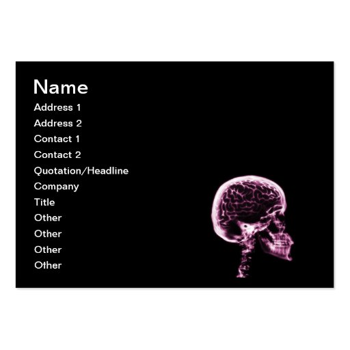 X-RAY SKULL BRAIN - BLACK & PINK BUSINESS CARD TEMPLATE