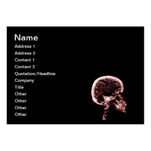 X-RAY SKULL BRAIN - BLACK & RED BUSINESS CARD