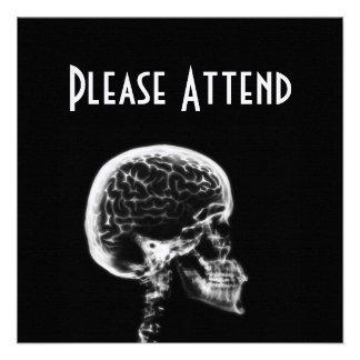 X-RAY SKULL BRAIN - BLACK WHITE PERSONALIZED INVITES
