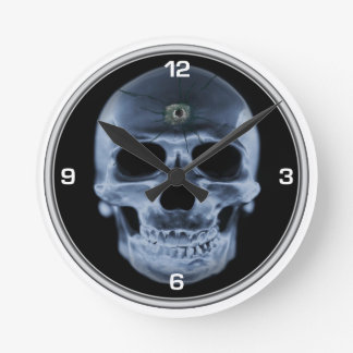 X- ray Skull Bullet Hole Wallclocks