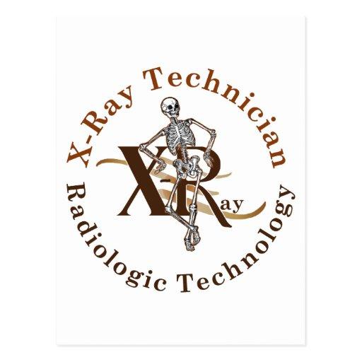 X Ray Technician Circle Brown Postcards
