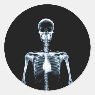 X-Ray Vision Blue Single Skeleton Round Sticker