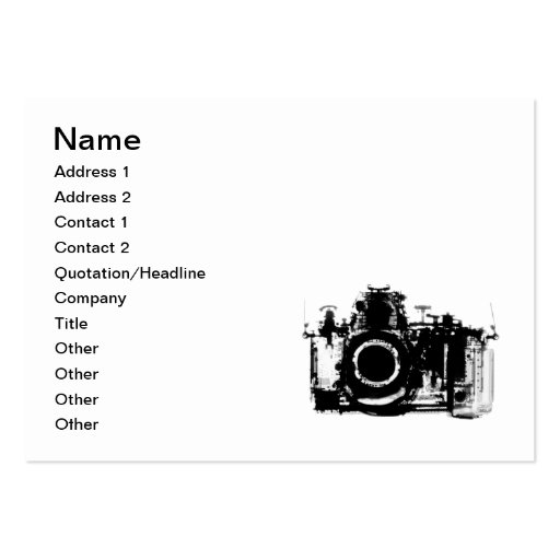 X-RAY VISION CAMERA - BLACK & WHITE BUSINESS CARDS
