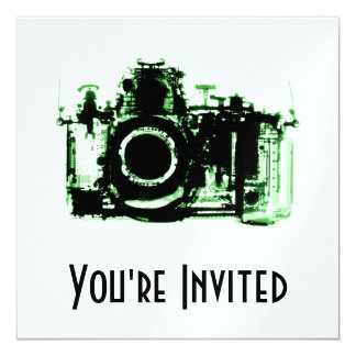 X-RAY VISION CAMERA - GREEN 13 CM X 13 CM SQUARE INVITATION CARD
