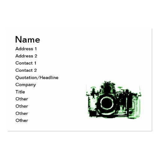 X-RAY VISION CAMERA - GREEN BUSINESS CARD TEMPLATES