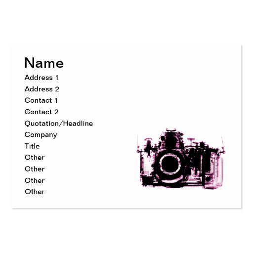 X-RAY VISION CAMERA - PINK BUSINESS CARDS