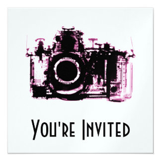 X-RAY VISION CAMERA - PINK 13 CM X 13 CM SQUARE INVITATION CARD
