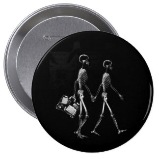 X-RAY VISION SKELETON COUPLE TRAVELING B&W 10 CM ROUND BADGE