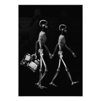 X-RAY VISION SKELETON COUPLE TRAVELING B&W CUSTOM INVITES