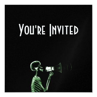 X-RAY VISION SKELETON ON MEGAPHONE - GREEN 5.25X5.25 SQUARE PAPER INVITATION CARD