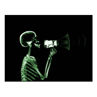 X-RAY VISION SKELETON ON MEGAPHONE - GREEN POST CARDS