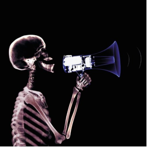 X-RAY VISION SKELETON ON MEGAPHONE - ORIGINAL ACRYLIC CUT OUT