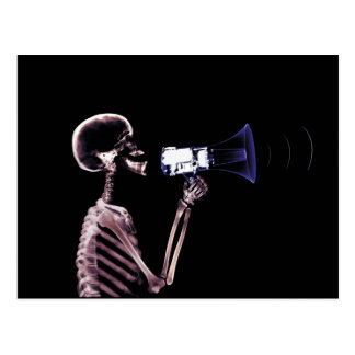 X-RAY VISION SKELETON ON MEGAPHONE - ORIGINAL POSTCARD