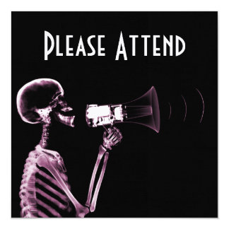X-RAY VISION SKELETON ON MEGAPHONE -PINK 5.25X5.25 SQUARE PAPER INVITATION CARD