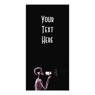 X-RAY VISION SKELETON ON MEGAPHONE -PINK PICTURE CARD