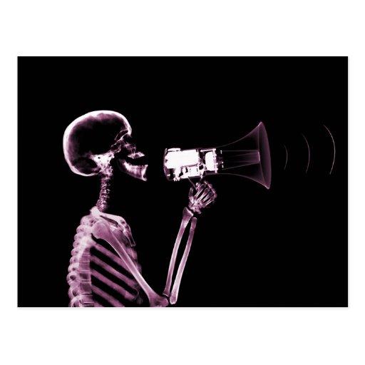 X-RAY VISION SKELETON ON MEGAPHONE -PINK POSTCARD