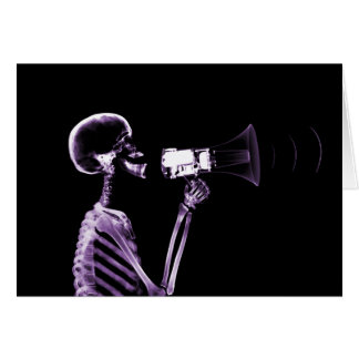 X-RAY VISION SKELETON ON MEGAPHONE - PURPLE GREETING CARDS