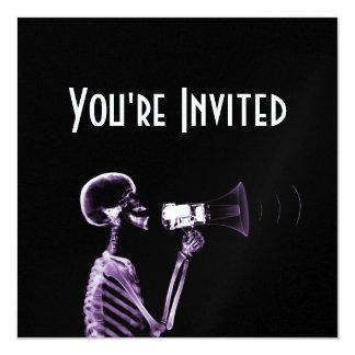 "X-RAY VISION SKELETON ON MEGAPHONE - PURPLE 5.25"" SQUARE INVITATION CARD"