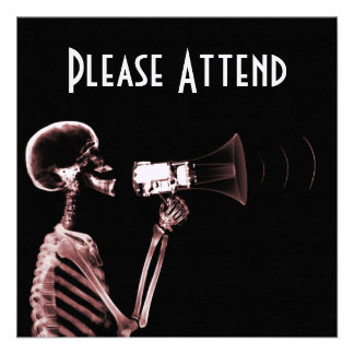 X-RAY VISION SKELETON ON MEGAPHONE - RED INVITATIONS