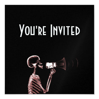 X-RAY VISION SKELETON ON MEGAPHONE - RED 5.25X5.25 SQUARE PAPER INVITATION CARD