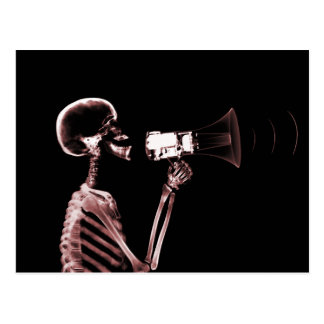 X-RAY VISION SKELETON ON MEGAPHONE - RED POSTCARD