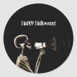 X-RAY VISION SKELETON ON MEGAPHONE - SEPIA ROUND STICKERS