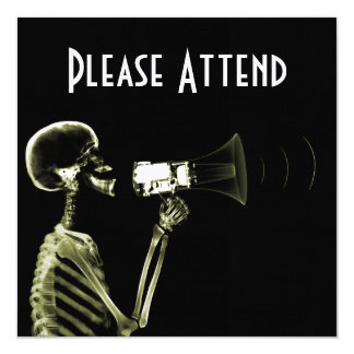 X-RAY VISION SKELETON ON MEGAPHONE - YELLOW 5.25X5.25 SQUARE PAPER INVITATION CARD
