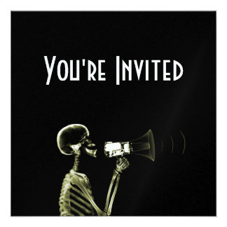 X-RAY VISION SKELETON ON MEGAPHONE - YELLOW CUSTOM INVITATIONS