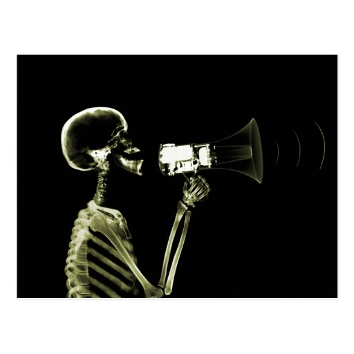 X-RAY VISION SKELETON ON MEGAPHONE - YELLOW POSTCARDS