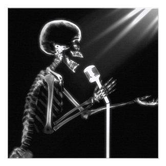 X-RAY VISION SKELETON SINGING ON RETRO MIC - B&W INVITATIONS
