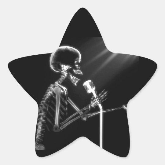 X-RAY VISION SKELETON SINGING ON RETRO MIC - B&W STAR STICKER