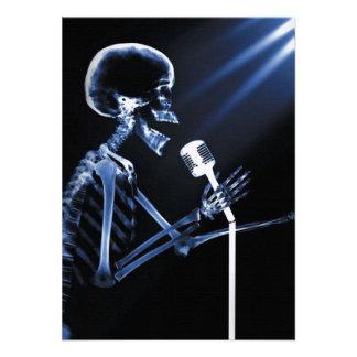 X-RAY VISION SKELETON SINGING ON RETRO MIC - BLUE CUSTOM INVITE