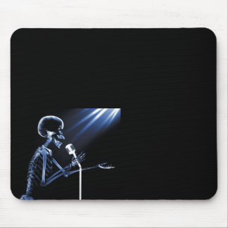X-RAY VISION SKELETON SINGING ON RETRO MIC - BLUE MOUSE MAT