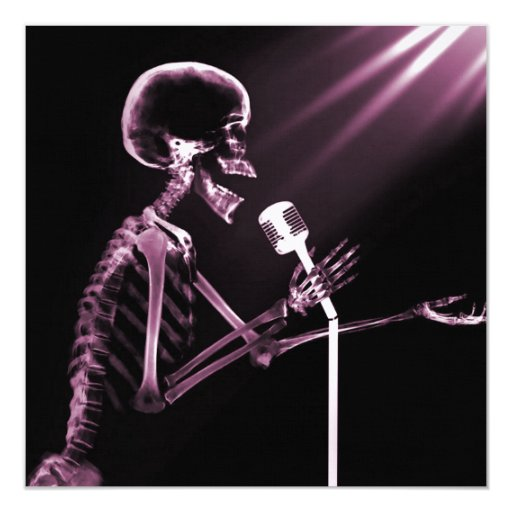 X-RAY VISION SKELETON SINGING ON RETRO MIC - PINK 13 CM X 13 CM SQUARE INVITATION CARD