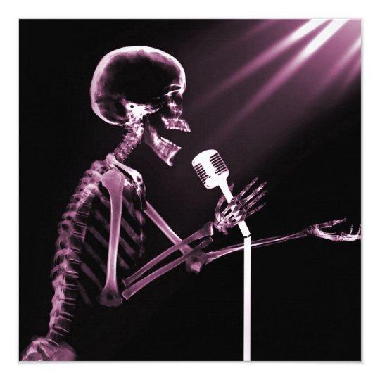 X-RAY VISION SKELETON SINGING ON RETRO MIC - PINK CARD