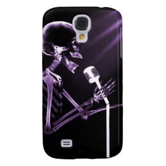 X-RAY VISION SKELETON SINGING ON RETRO MIC PURPLE GALAXY S4 CASE