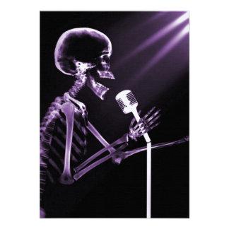 X-RAY VISION SKELETON SINGING ON RETRO MIC PURPLE PERSONALIZED INVITE