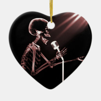 X-RAY VISION SKELETON SINGING ON RETRO MIC - RED CERAMIC HEART DECORATION